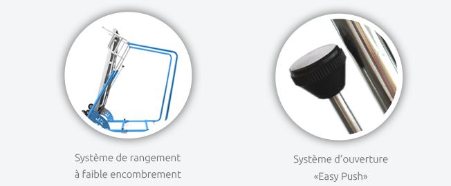 Système de rangement à faible encombrement   Système d'ouverture Easy Push